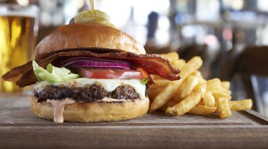 Hamburger and french fries