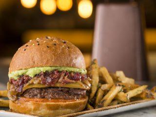 Bacon cheeseburger with seasoned fries