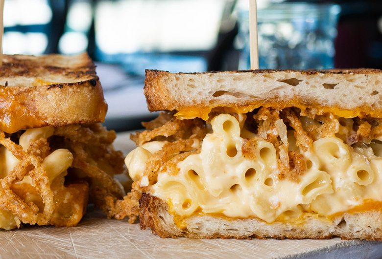 Grilled cheese with mac and cheese noodles inside