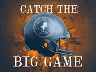 Catch the Big Game text with Searsucker helmet