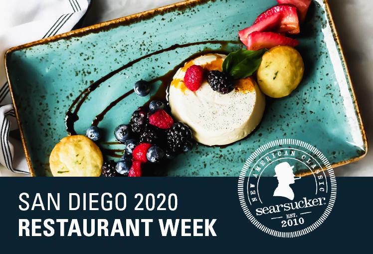 San Diego Restaurant Week 2020 featuring berry panna cotta for dessert