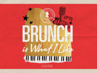 Text saying brunch is what i like in white overlayed over a golden piano with a red background